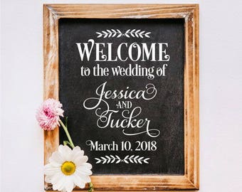 Wedding Sign Decal, Welcome, chalkboard sticker, vinyl letters, wedding decor, bride and groom, personalized, farmhouse rustic, wedding sign