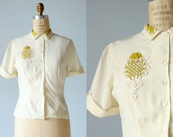 1940s Blouse / 40s Blouse / Beaded Blouse / Chartreuse and Cream