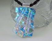 Dichroic Fused Glass Pendant - Dichroic Glass Jewelry - Dichroic Necklace - Mosaic - Bohemian Necklace - Boho - Rainbow Neckace X5238