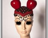 Bite Me 2.0 ..... Applea Ears Mouse Inspired Red Black Green White Fruit Fascinator