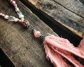 Dusty Rose Pink Fabric Tassel Freshwater Pearl Beaded and Chain Necklace- Gift for her