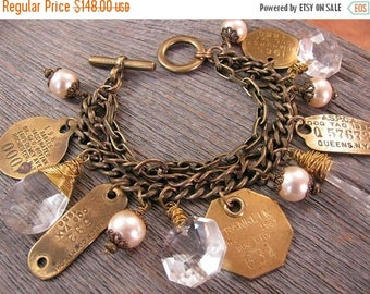 CLEARANCE SALE Repurposed Dog Tags - Vintage Chic Chunky Pearl, Chandelier Crystal and Brass Dog License Tag Multi-Strand Bracelet - New Yor
