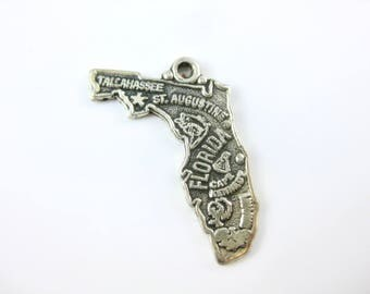 Vintage Florida State Sterling Silver State Cut Out Travelers Charm