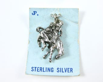 Vintage Sterling Silver Rodeo Cowboy Riding Horse Charm