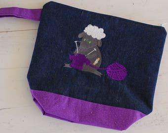 Medium Knitting Project Bag, Knitting Project Bag, Embroidered Project Bag, Knitting Project Bag with Zipper, Knitting Project Bag Medium
