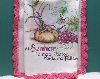 Tea Towel Shell Crochet Trim Vintage Lord Is My Shepherd Thanksgiving Blessing Kitchen Prayer Wall Hanging Hispanic Spanish Kitchen Linens