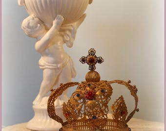 Shabby French style vintage jeweled crown for statues Infant of Prague ~ Ormolu~ filigree