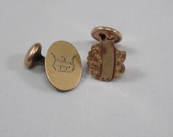 Antique Gold Cufflinks Cuff Links 2 Not a Pair