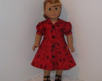 "Red Princess-Seam Dress, Fits 18"" Dolls // AG Doll Clothes, AG Doll Dress, American Girl Dress, Red Dress, AG Doll Retro, Nautical Collar"