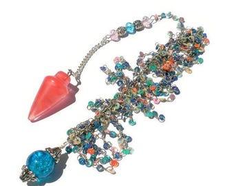 Summer Sale Cherry Quartz Pendulum Pendant, Meditation, Dowsing, Scrying, Strawberry Quartz, Heart Chakra, Amulet, Talisman,Sage,Heather, Gi