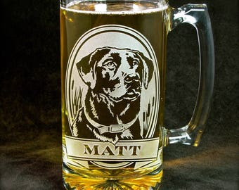 NEW Personalized Labrador Retriever Beer Stein, Engraved Gift for Dog Lover, Etched Glass Beer Mug