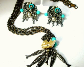 School of Fish Necklace n Clip Earrings,  Turquoise, Pearls and Silver Fish Dangles, A Scallop Shell too, 1960s Fine Catch for the Day