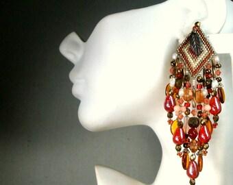 Chipita UnSigned Beaded Fringe Earrings, Autumn Raspberry, Gold & Brown Dangle Earrings, Ornate 1980s Long Clips, All Glass Beads