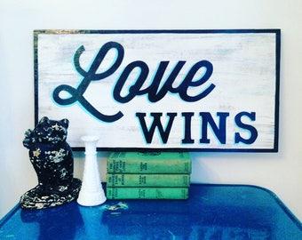 Love Wins handpainted sign