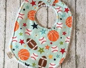 New Dad Gift Sports Theme Baby Shower New Baby Gift Baby Boy Bibs Dribble Bib Basketball Infant Bib Football Baby Bib Baseball Chenille Bib