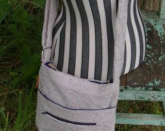 Liz's Hip/Messenger Bag - Beige Navy Dot