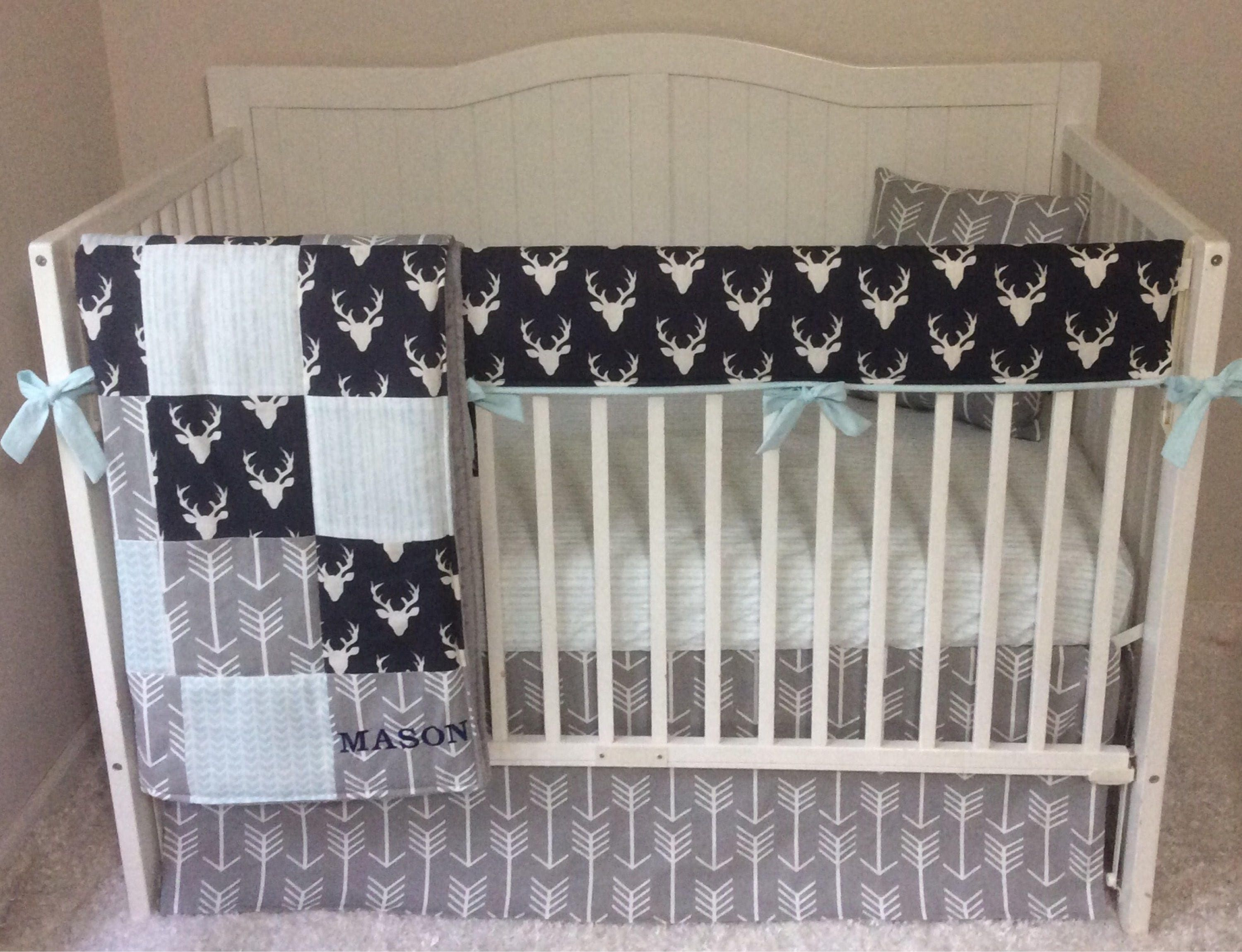 Crib bedding set gray white navy blue with by butterbeansboutique -  Zoom