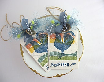 Farm Fresh Rooster Gift Tags~set of 2~Ranch~Country Kitchen~Homespun Farm~Chicken~Sunset~blue~yellow~orange~green~pink~Tuscany~Farmhouse