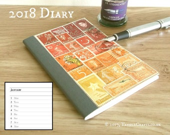 Sunset Recycled Diary, 2018 Monthly Planner Notebook A6 | Ombre Flame Orange Postage Stamp Art | Colourful Eco Stocking Filler Secret Santa