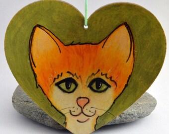 WOODEN Heart hanging decoration, Ginger Cat.