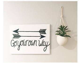 Go Your Own Way - Hand painted Canvas - bedroom painting decor home house dwell wall hanging decoration black gold paint art work