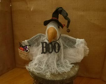PRIMITIVE HALLOWEEN WITCH. gHOST  Crow, sHELF sITTER