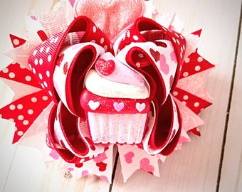 Cupcake Love Valentines Day Bow- hair bow- Girls bows- Boutique bow- Stacked bow- Girls fashion- Clay center- Love- Valentines Day