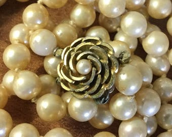 Well Aged Signed Vendome Faux Pearl Glass Bead Double Strand Necklace Fancy Faux Pearl Gold Tone Flower Clasp Flaky Tarnished Shabby