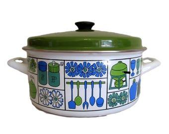 Vintage Mid Century Enamelware Atomic Green White Blue Enamel Lidded Dutch Oven Pot