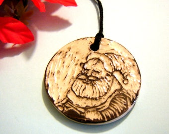Santa Claus Ornament - Black and White – Father Christmas - Sgraffito Pottery Holiday Décor – Vintage Inspired