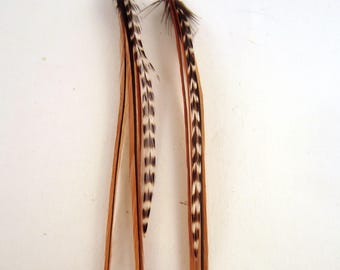 Natural Brown feather earrings with grizzly