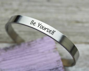 Be Yourself Skinny Cuff Bracelet, Hand Made, Fine Pewter
