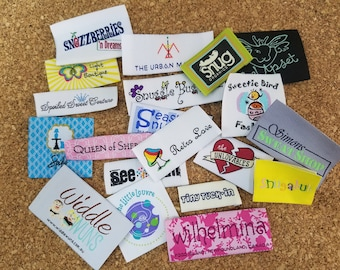 100pcs Customized Woven Labels (Made in Hong Kong) for Boutique, Hoods, Tee, Hat, Shirt, Dress, James, Tops, Bottoms, Pants, Jeans, Skirts