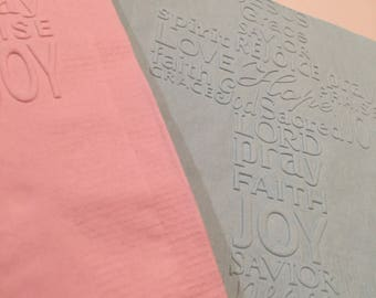 Pack of 50 Baptism, baby shower or christening napkins in any color, lovingly embossed.