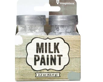 American Crafts Milk Paint, 1.1-Ounce, White and Gray
