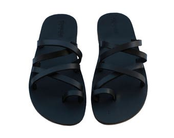 CLEARANCE SALE - Black Buckle-Free Leather Sandals - All Leather Sole  - Euro # 39 - Handmade Unisex Sandals, Genuine Leather, Sale