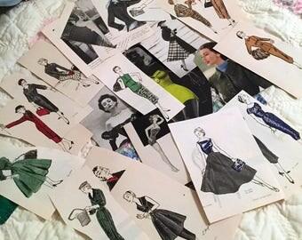 48 Paper Ephemera Pieces and 8 Sewing Supplies, Vintage Scrapbook or Journal Kit, Ladies Fashion, Vargas Pin Up Girls, Vogue Illustrations