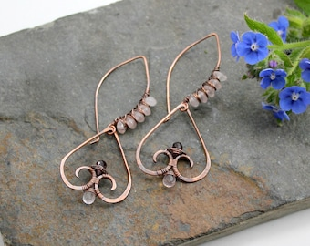 Gateway to my Heart earrings - Garnet and Rose Quartz with copper wire wrapped earrings