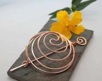 Yin Yang Spiral Hair Barrette Or Bun Cage - Copper - Large