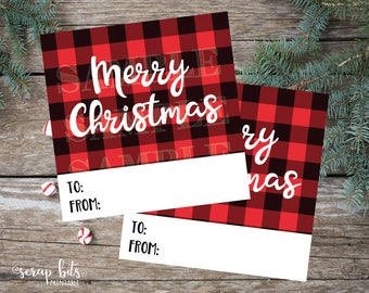 Instant Download Buffalo Check Tags, Buffalo Plaid Christmas Tag, Printable To From Christmas Tags, Buffalo Plaid Christmas Labels