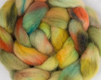 Hand dyed fibre, combed top, Exmoor Blueface, British wool, felting materials, rare breed, hand dyed roving, felting materials, dry felting,
