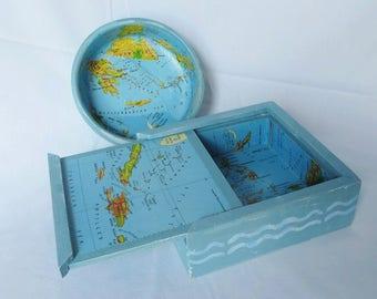 Beach Cottage Box Bowl Tray Desk Set Sliding Lid Aqua Turquoise Maps Islands Oceans Repurposed Waves Nautical Seaside Decor Water Trinket