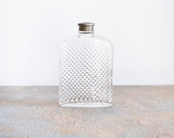 glass flask, vintage 20s hip flask, 1927 universal art deco glass hip flask