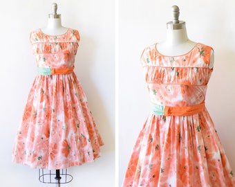 vintage 50s floral dress, 1950s orange pink and green dress, summer garden party dress, watercolor print extra small xs dress
