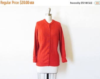20% OFF SALE vintage red cardigan, 70s red sweater, red button up sweater, large l