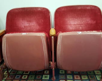 1926 Vintage Red Velvet Theater 2-Seat Double