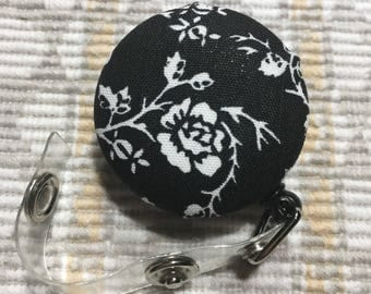 Name badge fabric covered badge reels black and white flower design