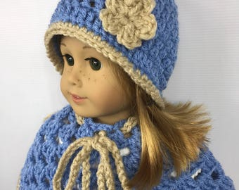 "18"" doll hat, 18"" doll poncho, doll clothes, doll back to school wear, blue and tan, winter wear"