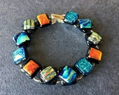 Multi-Colored Iridescent Dichroic Glass Bracelet