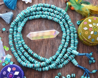Aqua Blue : 8mm Inlaid Yak Bone Beads, 10 beads, Coral Turquoise & Wire / Bohemian, Nepal - Tibet Supplies, Prayer Beads, Malas, Supplies
